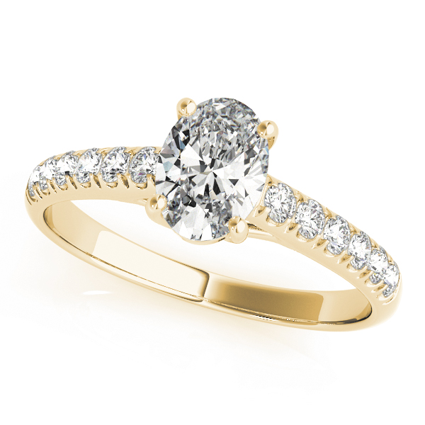 Classic Oval Diamond Trellis Engagement Ring in Yellow Gold