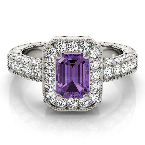 Vintage Purple Amethyst Halo Ring