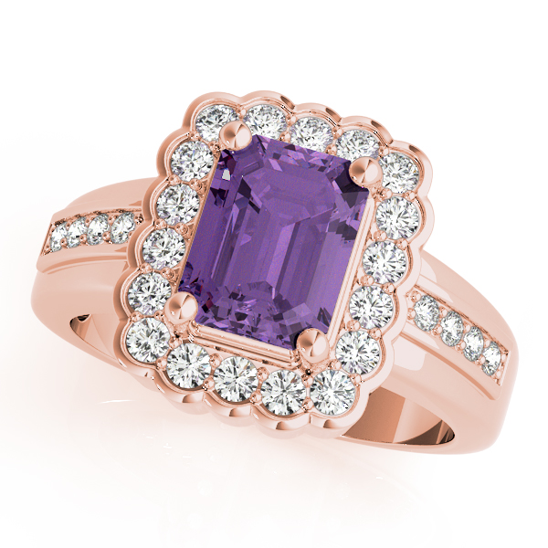 Emerald Amethyst Halo Ring Rose Gold