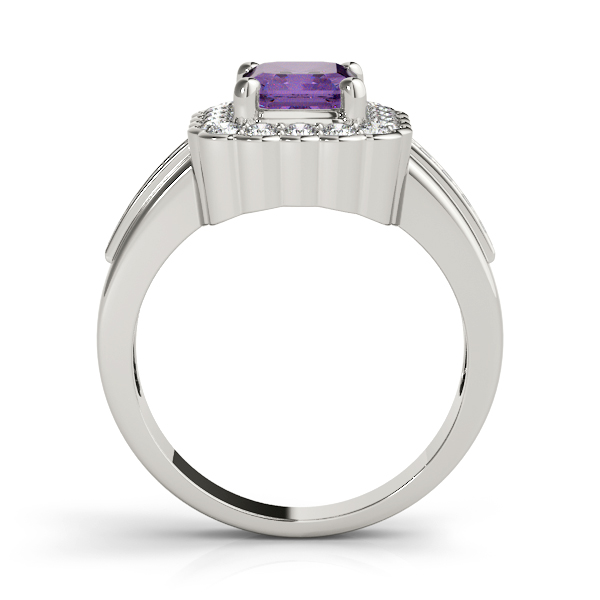Purple Amethyst Emerald Halo Ring