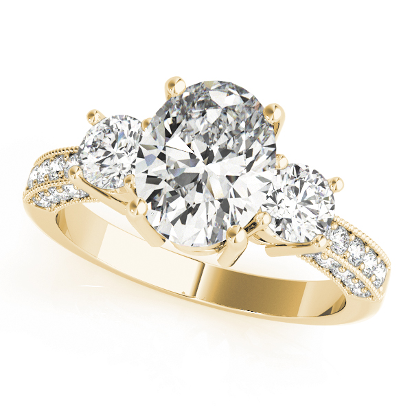 Three Stone Oval - Round Vintage Engagement Ring in Yellow Gold