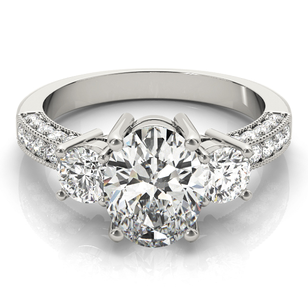 Three Stone Oval - Round Vintage Engagement Ring