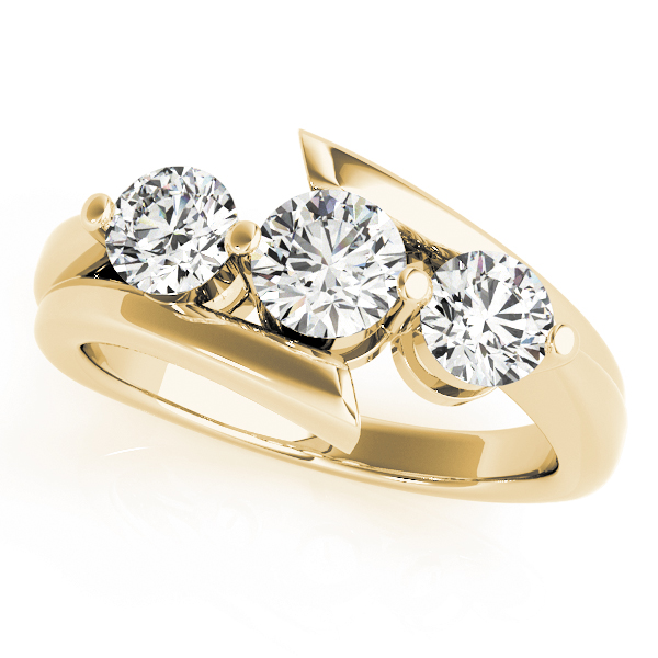 Swirl Three Stone Diamond Anniversary Ring in Yellow Gold