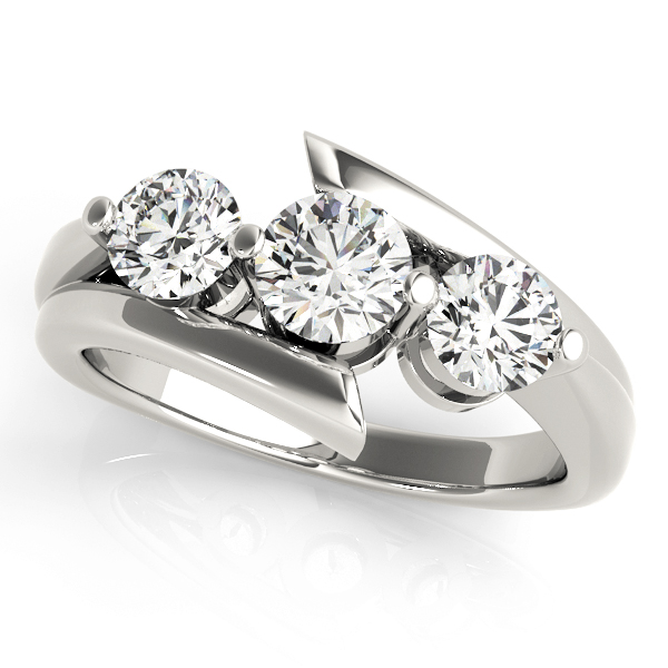 Swirl Three Stone Diamond Anniversary Ring