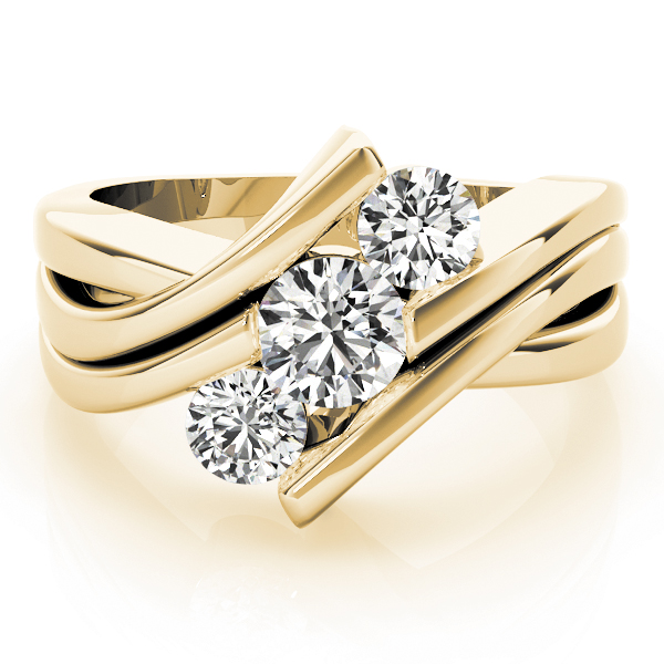 Swirl Three Stone Diagonally Set Diamond Anniversary Ring in Yellow Gold