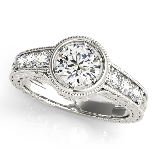 Vintage Bezel Diamond Engagement Ring, Engraved Band