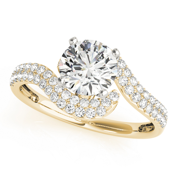Petite Diamond Swirl Engagement Ring with Double Row in Yellow Gold