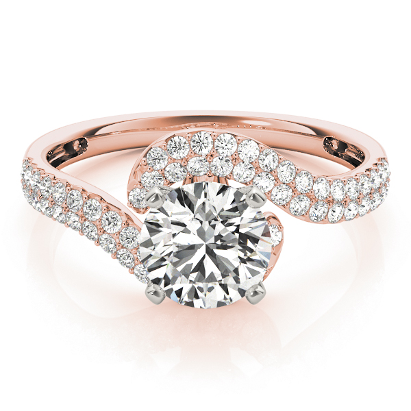 Petite Diamond Swirl Engagement Ring with Double Row in Rose Gold