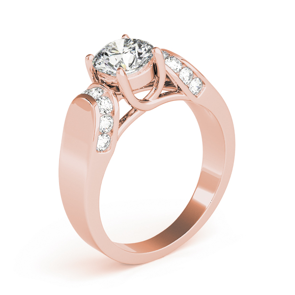 Trellis Diamond Horseshoe Engagement Ring in Rose Gold