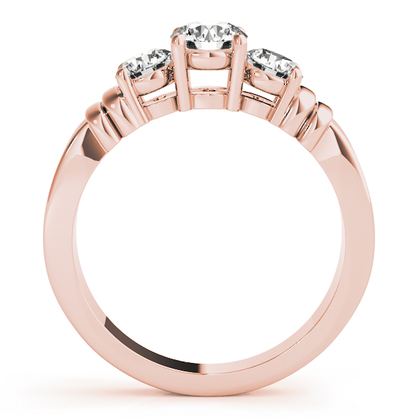 Three Stone Diamond Engagement Ring in Rose Gold