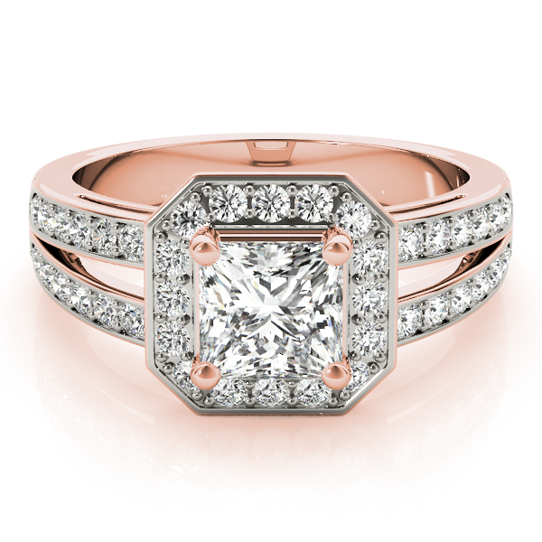Princess Octagon Halo Split Ring Rose Gold