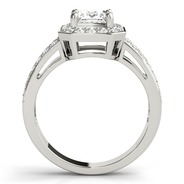 Princess Octagon Halo Split Band Ring