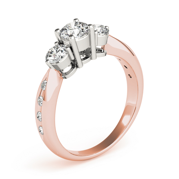 Three Stone Diamond Anniversary Ring in Rose & White Gold