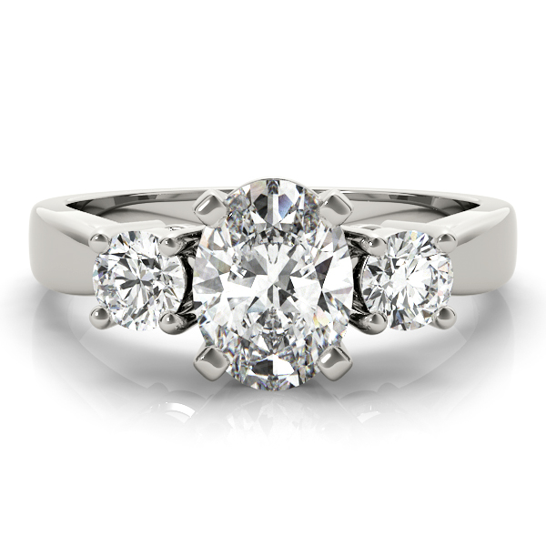 3 Stone Oval Diamond Engagement Ring