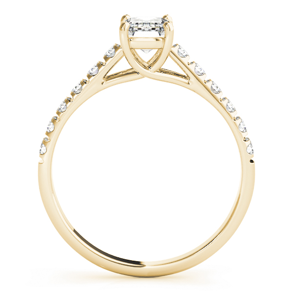 Classic  Emerald Cut Diamond Trellis Engagement Ring in Yellow Gold