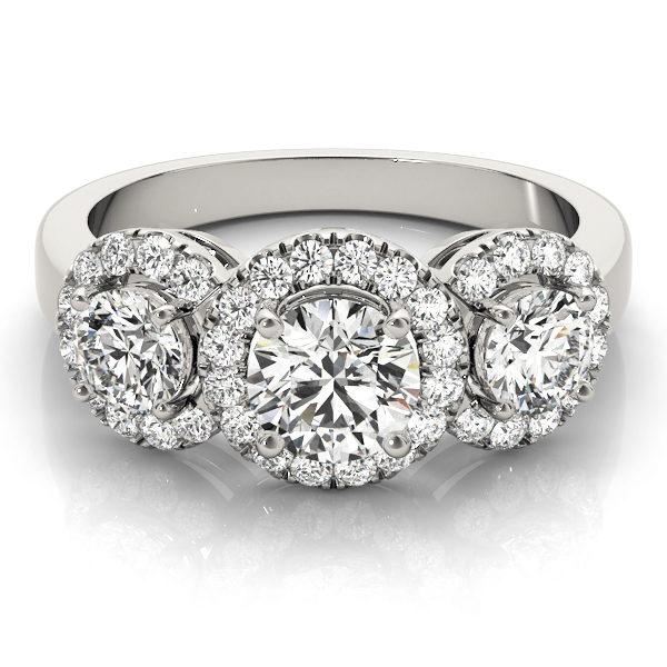 Three Stone Halo Diamond Engagement Ring