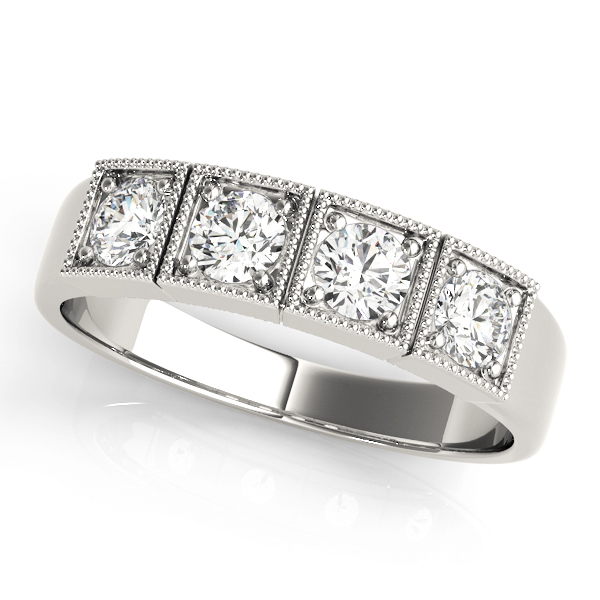 4 Stone Round Diamond Band 0.48 Carat