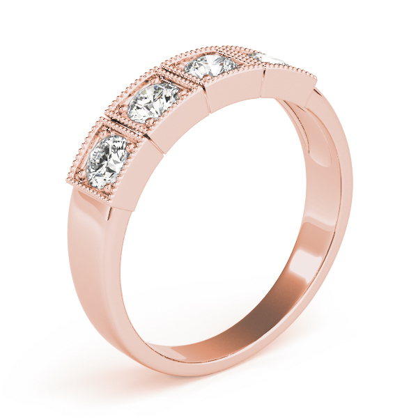4 Stone Round Diamond Band Rose Gold