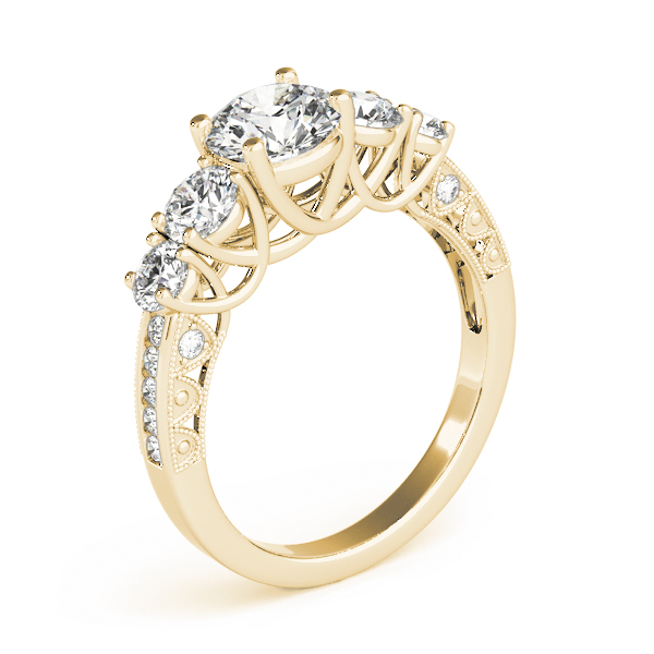 Vintage Five Stone Diamond Trellis Engagement Ring in Yellow Gold