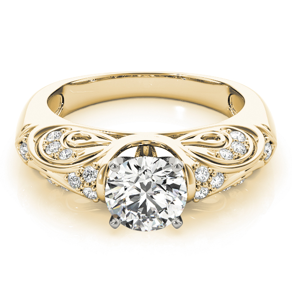 Vintage Filigree Diamond Engagement Ring in Yellow Gold
