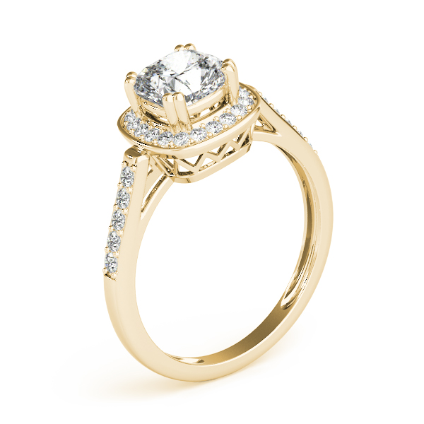Cushion Halo Filigree Engagement Ring Yellow Gold