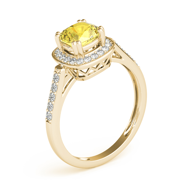 Yellow Sapphire Cushion Halo Filigree Gold Ring