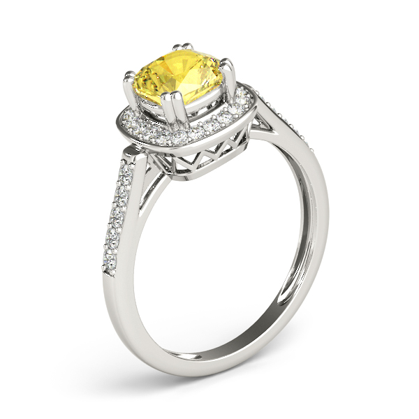 Yellow Sapphire Cushion Halo Filigree Ring
