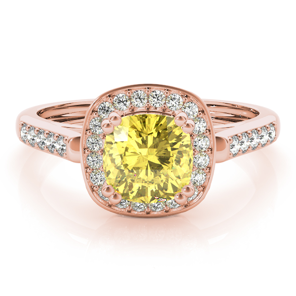 Yellow Sapphire Cushion Halo Filigree Rose Gold Ring