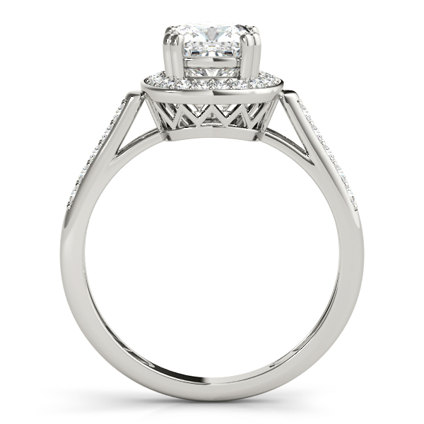 Cathedral Cushion Halo Filigree Engagement Ring