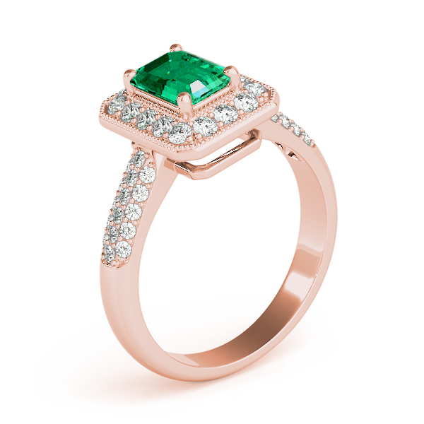 Green Emerald Halo Etoil Ring Rose Gold