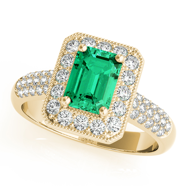 Green Emerald Halo Etoil Ring Yellow Gold