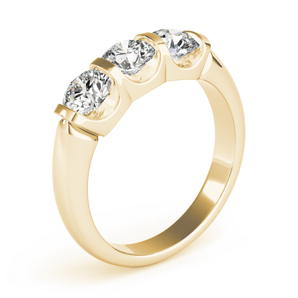 Three Stone Anniversary Ring in Yellow Gold