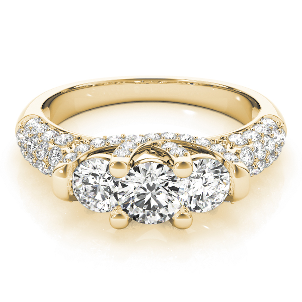 Three Stone Etoil Diamond Engagement Ring Yellow Gold