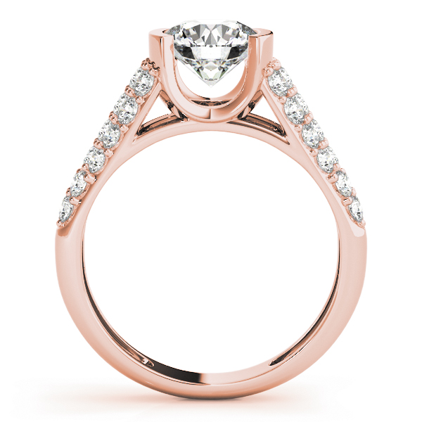 Etoil Bezel Cathedral Diamond Engagement Ring in Rose Gold