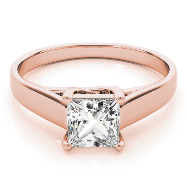 Princess Diamond Trellis Solitaire Promise Ring in Rose Gold