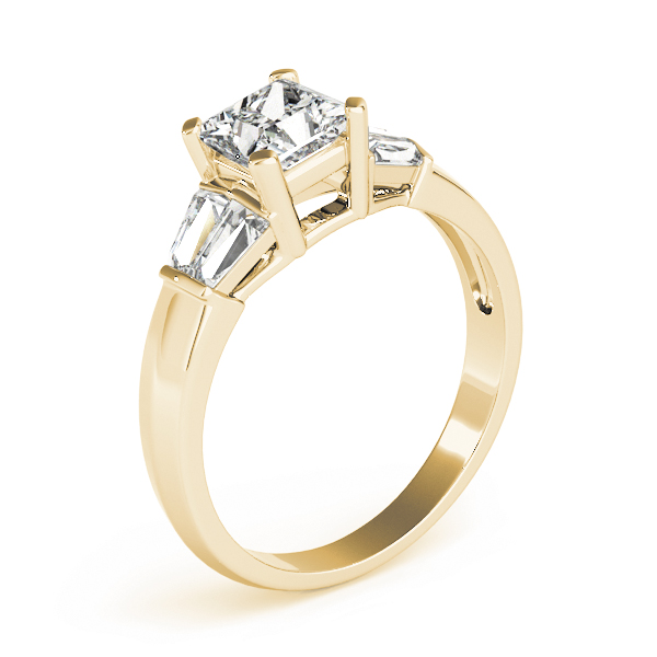 Classic Diamond Engagement Ring with Baguettes in Yellow Gold
