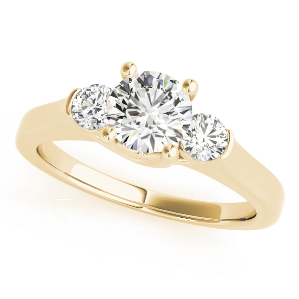 Petite Three Stone Diamond Trellis Engagement Ring Yellow Gold