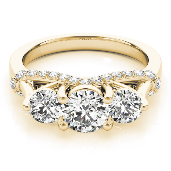 Three Stone Trellis Diamond Engagement Ring Yellow Gold