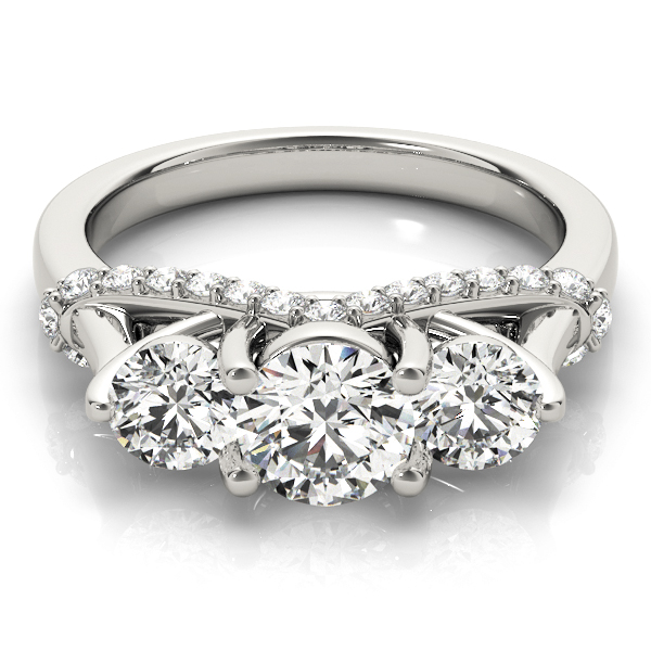 Three Stone Trellis Diamond Engagement Ring