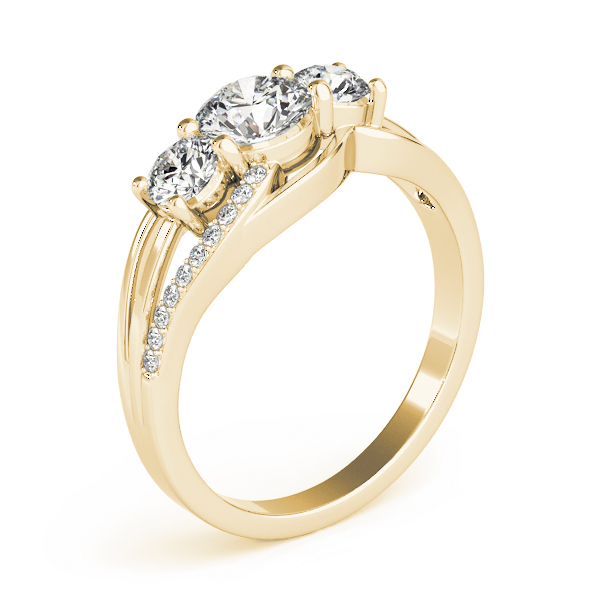 Three Stone Swirl Anniversary Ring Yellow Gold