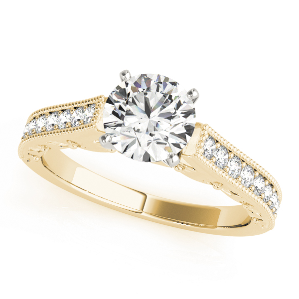 Cathedral Pave Diamond Engagement Ring in Yellow Gold