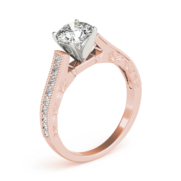 Cathedral Pave Diamond Engagement Ring in Rose Gold
