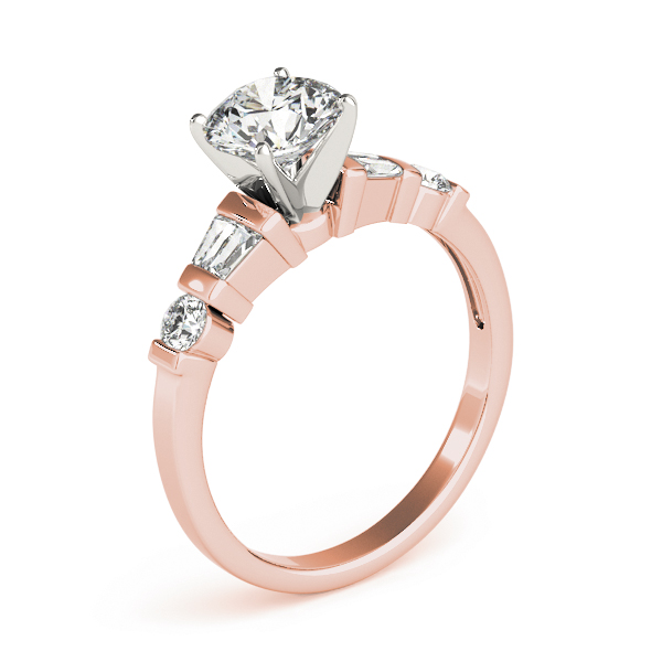 Classic Baguette & Round Diamond Ring in Rose Gold
