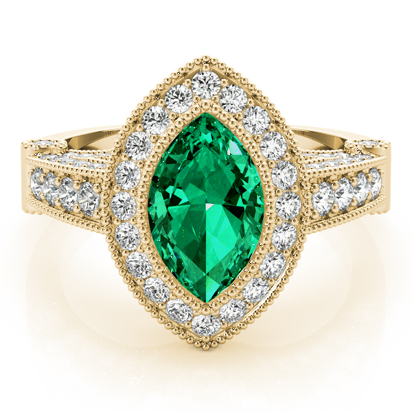 Marquise Green Emerald Vintage Ring Yellow Gold