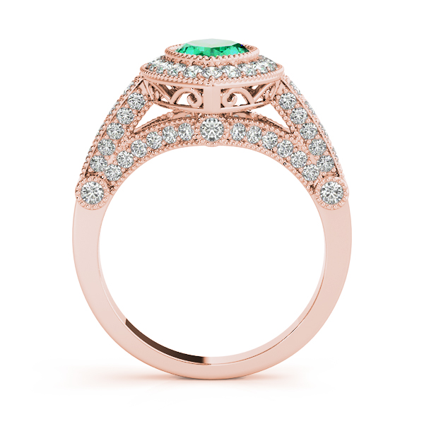 Marquise Green Emerald Vintage Ring Rose Gold
