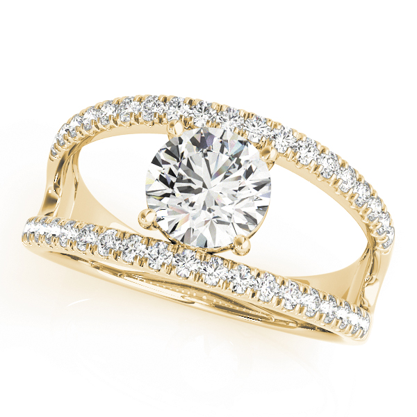 Wide Split Band Diamond Engagement Ring in Yellow Gold