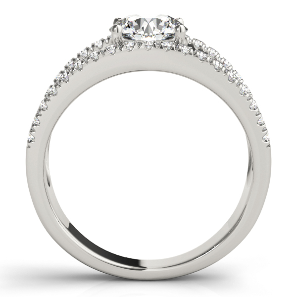 Wide Split Band Diamond Engagement Ring