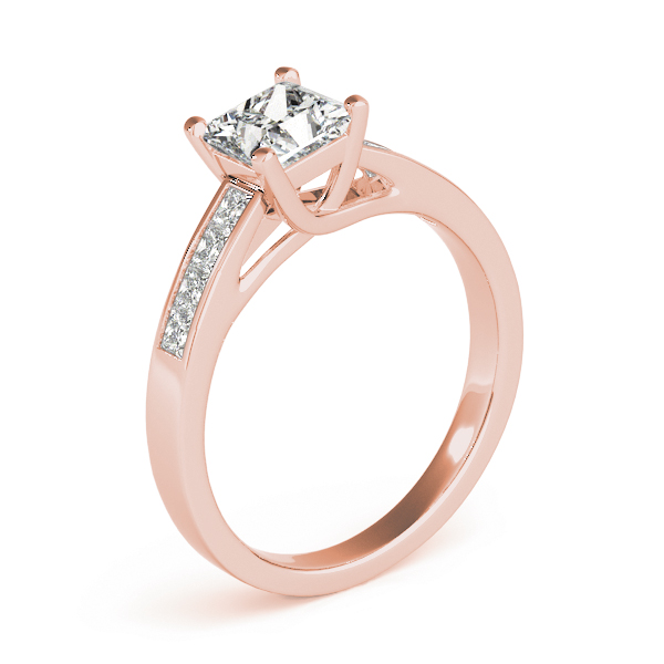 Classic Trellis Princess Diamond Engagement Ring in Rose Gold