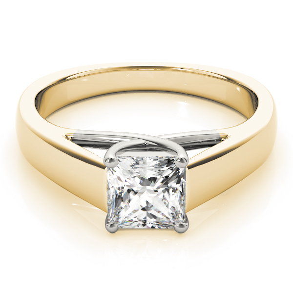 Trellis Solitaire Engagement Ring in Yellow & White Gold
