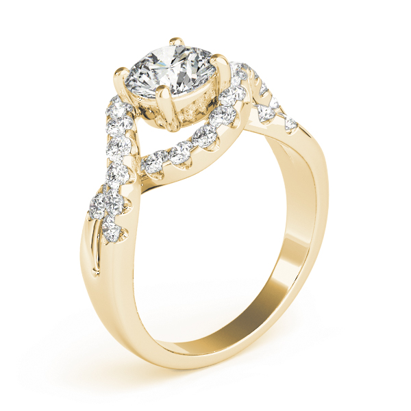 Intertwined Bridge Diamond Engagement Ring with Halo Yellow Gold